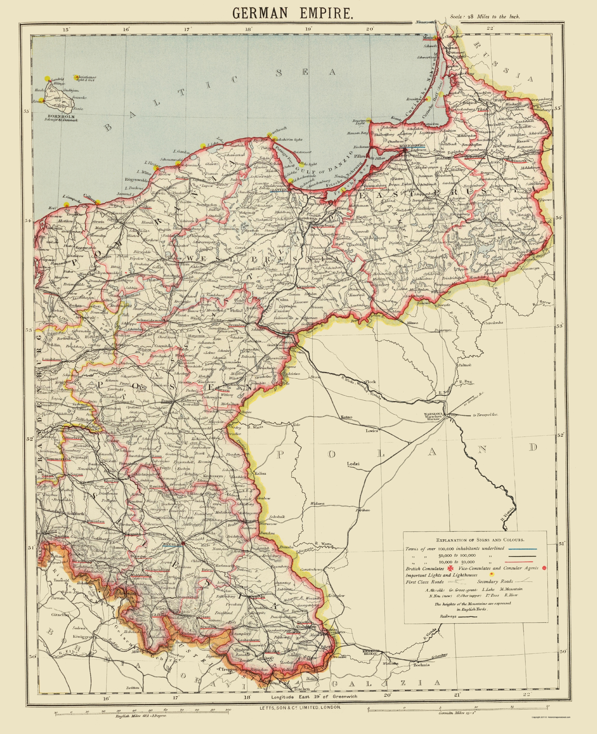 Old Germany Map   German Empire 2   Letts 1883   23 x 28.27