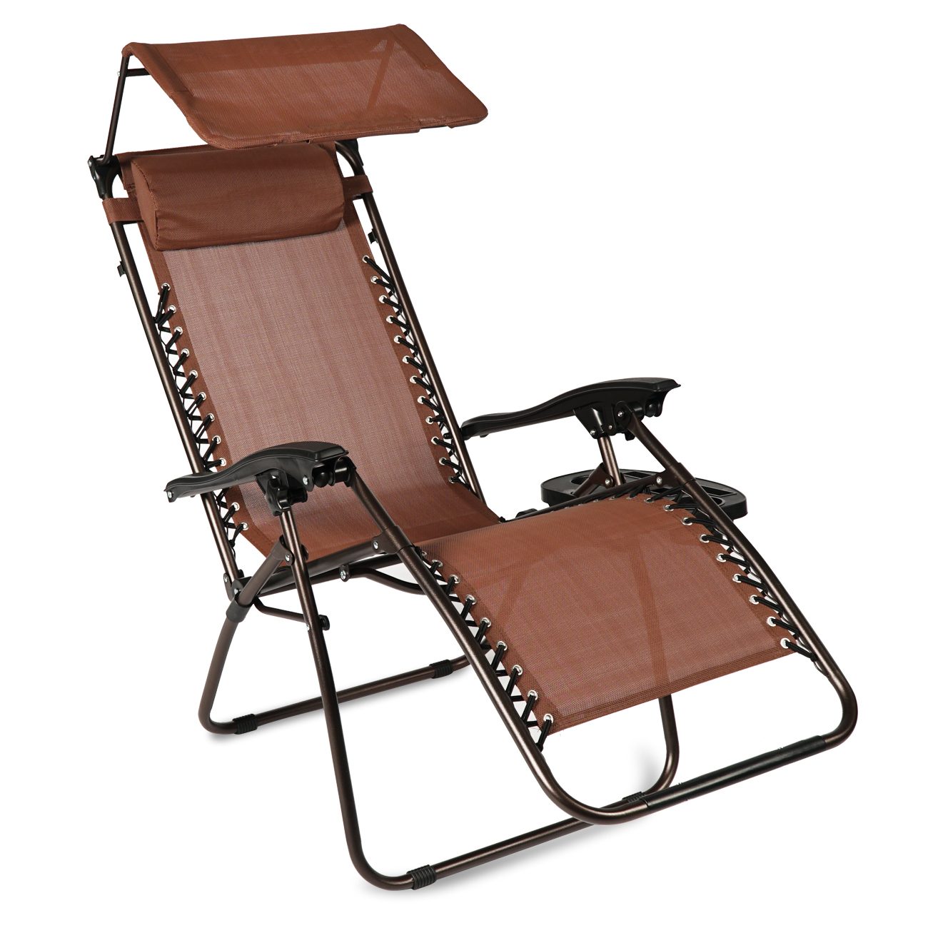 belleze set of (2) zero gravity chair recliner lounge chairs w/ canopy sun shade cup holder, brown