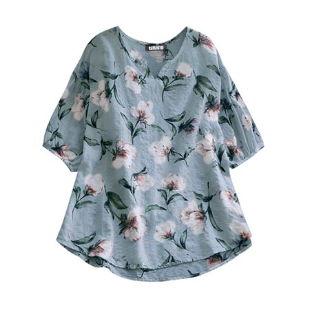 DYMADE Women's Cotton Linen Elbow Sleeve Floral Loose Tops ()