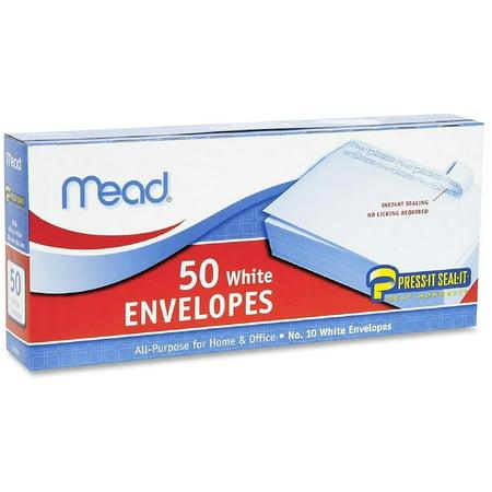Mead Plain White Envelopes 4.125'' x 9.5'' 50 ea (Pack of (50 Plain Envelopes)