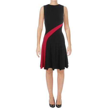 Lauren Ralph Lauren Womens Tashi Matte Jersey Colorblock Casual Dress