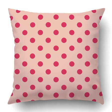 BPBOP Small Pattern with Red Polka Dots on Baby Pink Retro Design for Blog Www Party Wedding Country Pillowcase 18x18 (Retro Style Blog)