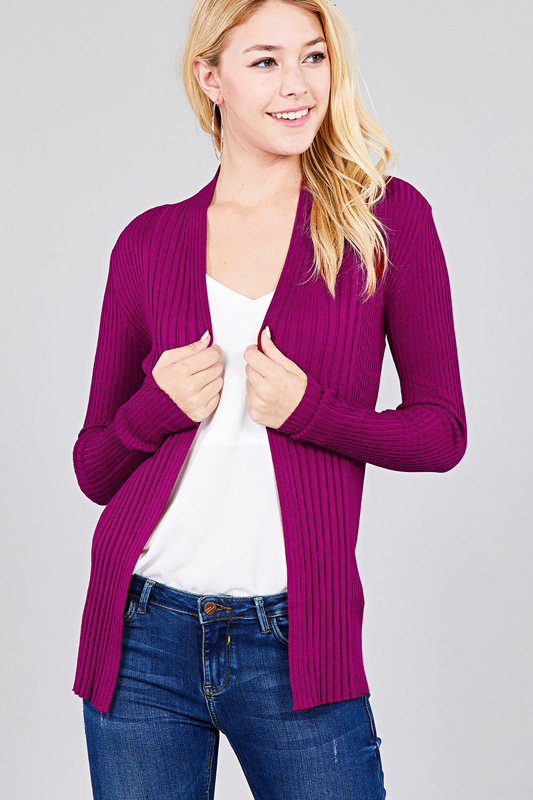 Women's Long Sleeve Open Front Ribbed Knit Cardigan