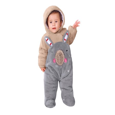 79b4603b3 Newborn Baby Girls Boys Solid Cartoon Bear Velvet Hooded Jumpsuit Romper  Clothes - Walmart.com
