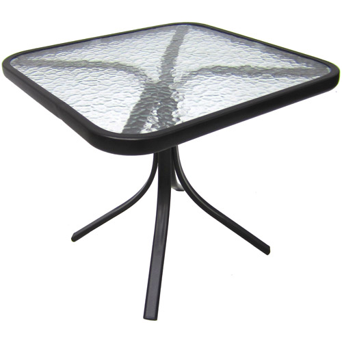 "Mainstays Square Outdoor Glass Top Side Table, 20""W x 18""H"