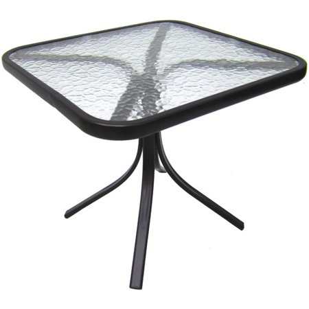 Mainstays 20in. Square Outdoor Tempered Glass Side Table ()