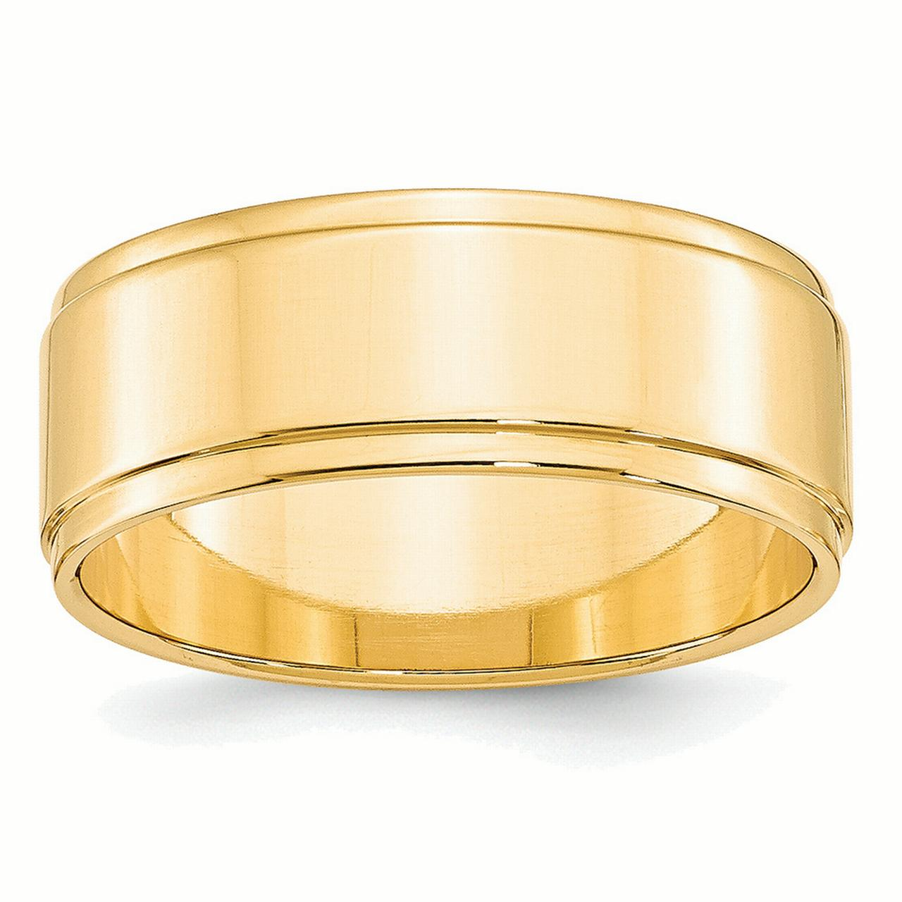 14k Yellow Gold 8mm Flat with Step Edge Band Ring FLE080 by