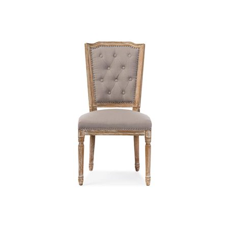 Baxton Studio TSF-9341 Estelle Chic Rustic French Country Cottage Weathered Oak Beige Fabric Button-Tufted Upholstered Dining Chair - 37.83 x 19.89 x 21.06 in. Country Dining Room