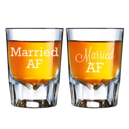 One Lucky Mr. and Soon To Be Mrs. Engraved Barcraft Fluted Shot Glass Set