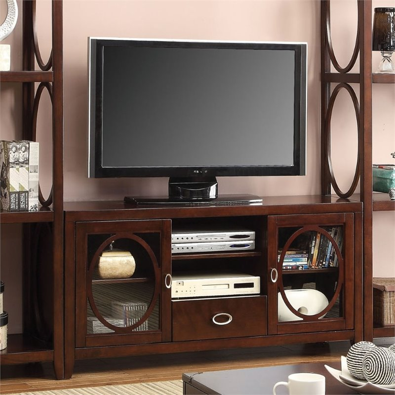 "Furniture of America Glossen 56"" Circular Accent TV Stand in Cherry"