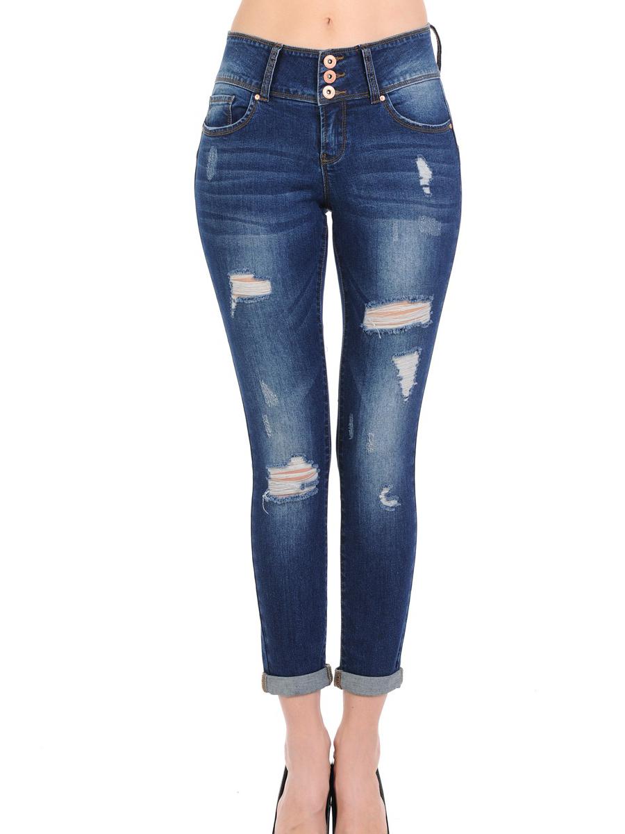 Juniors' 3-Button Push Up Crop Jeans