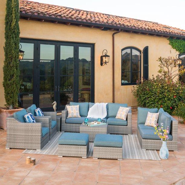 Corvus Martinka 11 Piece Grey Wicker, Corvus 8 Piece Grey Wicker Patio Furniture Set With Blue Cushions
