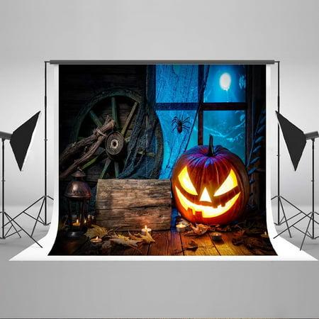MOHome Polyster 7x5ft Happy Halloween Thriller Night Moon Funny Welcome Bakcdrop Pumpkin Face Golden Glitter Wood Floor Wheel Photography Background (Halloween Moon Faces)