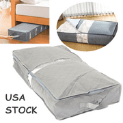 Zipped Under-Bed Organizer Under the Bed Storage Bag Box Gray For Clothes Blankets Duvet Pillow