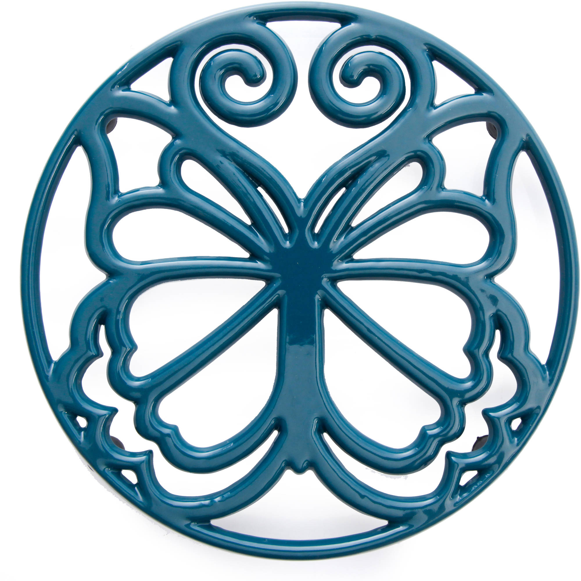 """The Pioneer Woman Timeless Beauty 8"""" Cast Iron Trivet, Teal"""