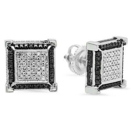 0.15 Carat (ctw) Sterling Silver Round Black & White Diamond Micro Pave V Square Shape Stud Earrings Diamond Micro Pave Square