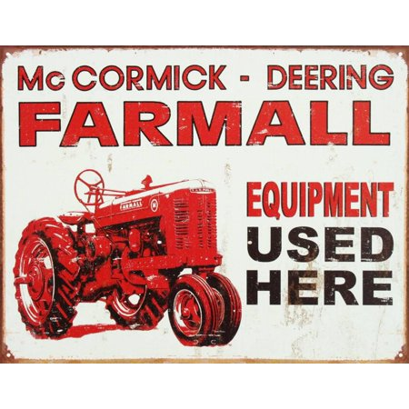 Farmall Tractor Signs - Farmall Tractor Equipment Used Here Tin Sign - 12.5x16