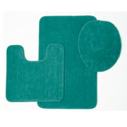 Brandy 3 Piece Solid Frieze Bathroom Rug Set, Bath Mat, Contour, Toilet Seat Lid Cover (Turquoise)