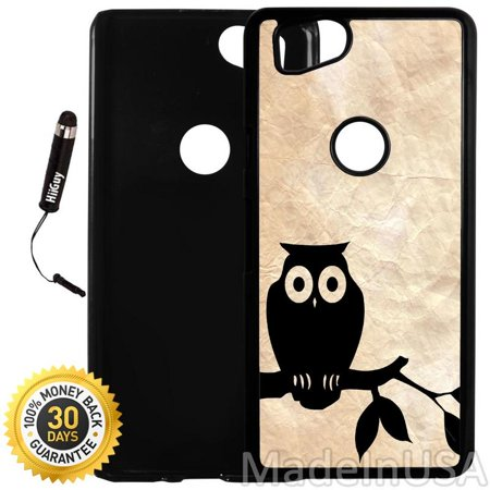 Custom Google Pixel 2 Case (Cute Owl On Vintage Paper) Plastic Black Cover Ultra Slim | Lightweight | Includes Stylus Pen by Innosub