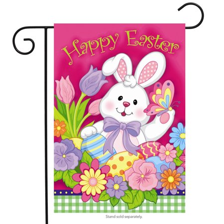 Happy Easter Bunny Garden Flag Decorated Eggs Tulips 12.5