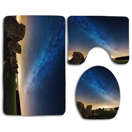 EREHome Beltany Neoglyphic Standing Stone Circle 3 Piece Bathroom Rugs Set Bath Rug Contour Mat and Toilet Lid Cover - image 1 of 2