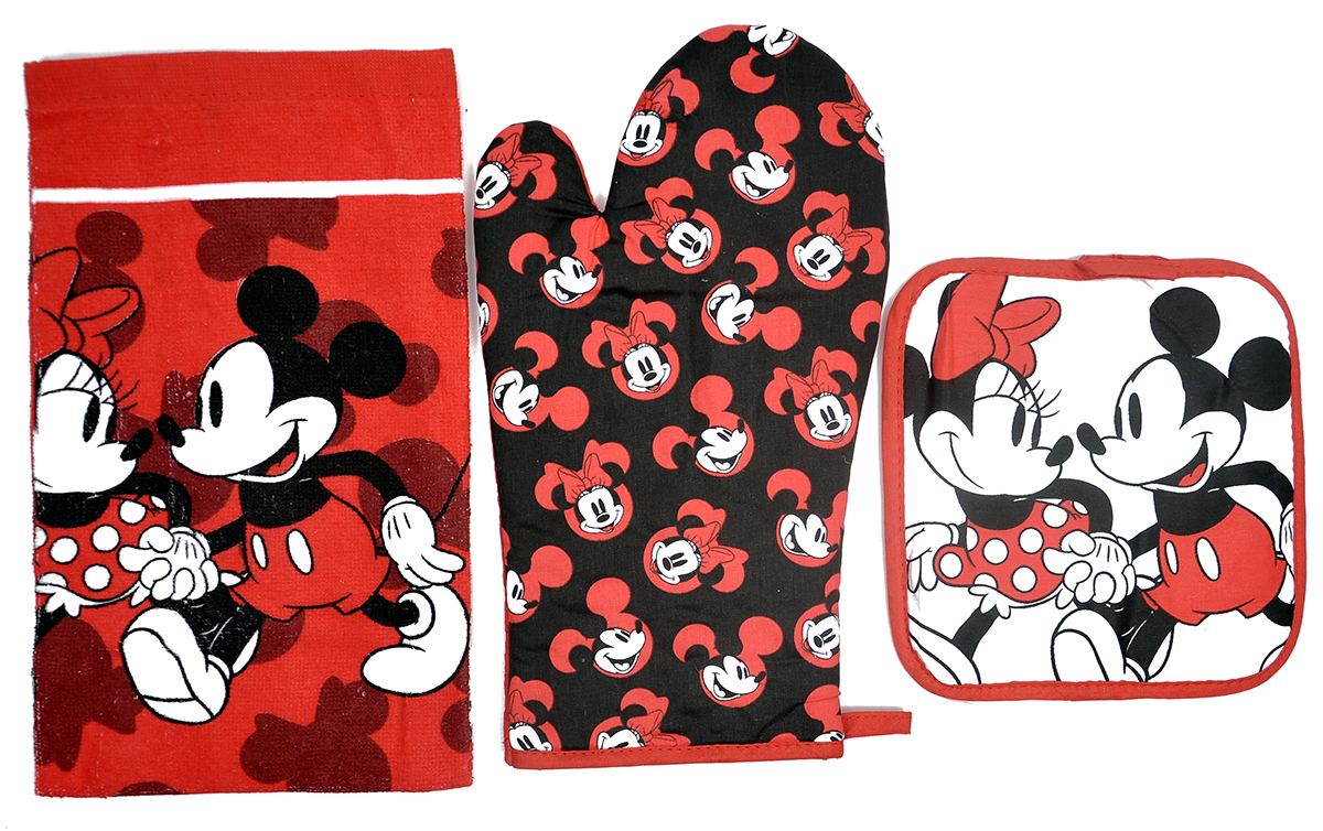 Mickey & Minnie 3Pc Kitchen Set Oven Mitt Pot-Holder Dish Towel by Jerry Leigh