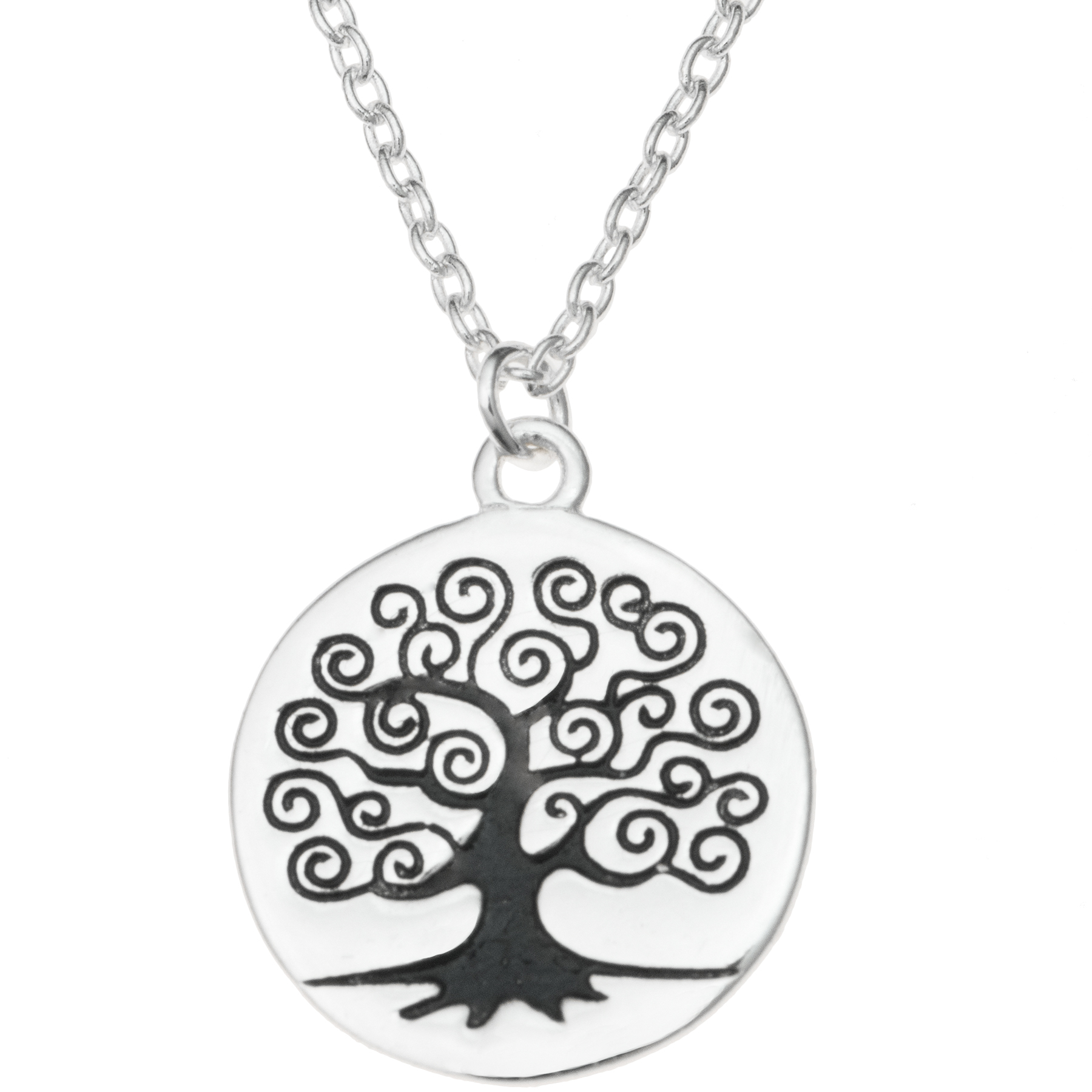 "Sterling Silver Round Family Tree Dangle Charm Pendant Rolo Chain Necklace 16"" + 1"" Extender"