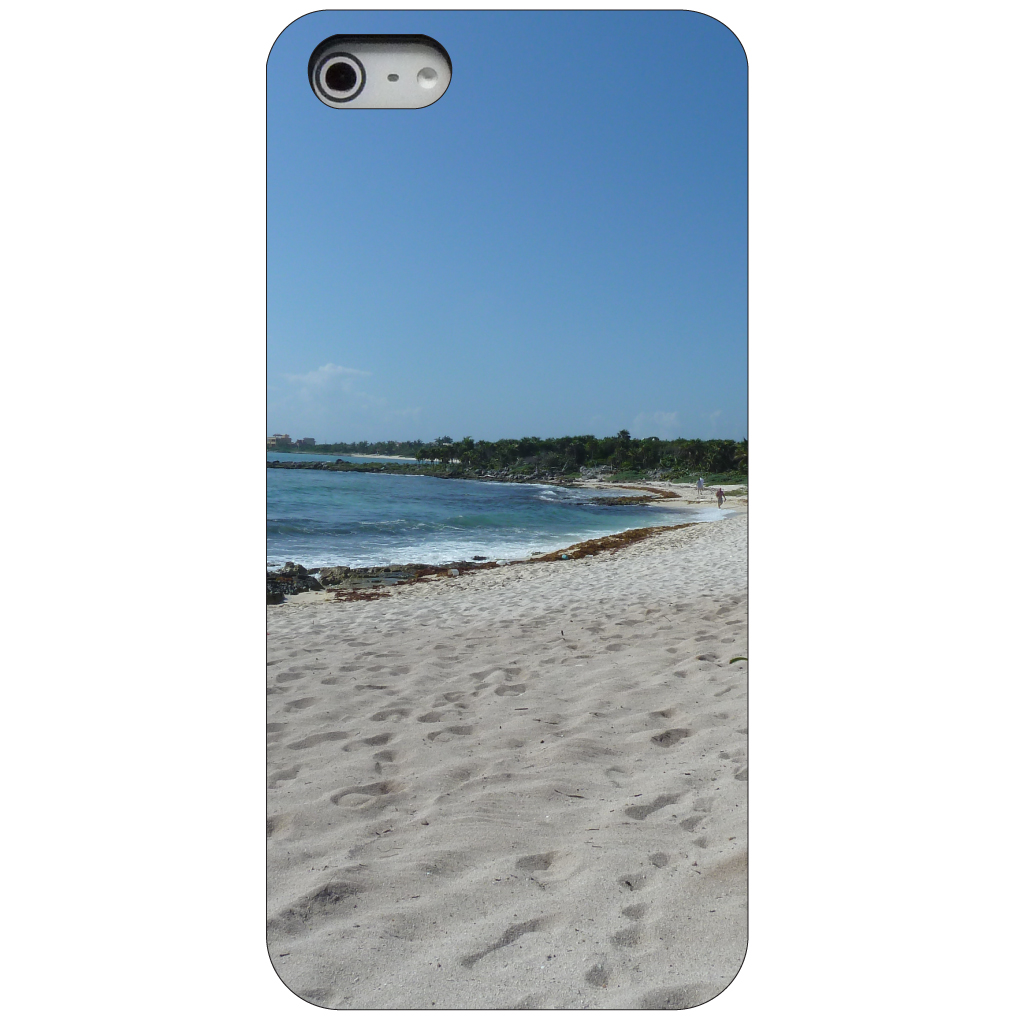 CUSTOM Black Hard Plastic Snap-On Case for Apple iPhone 5 / 5S / SE - Beach Scene Akumal Mexico