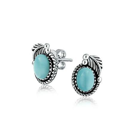 Bali Style Larimar Gemstone Round Bezel Leaf Rope Edged Stud Earrings For Women Oxidized 925 Sterling Silver