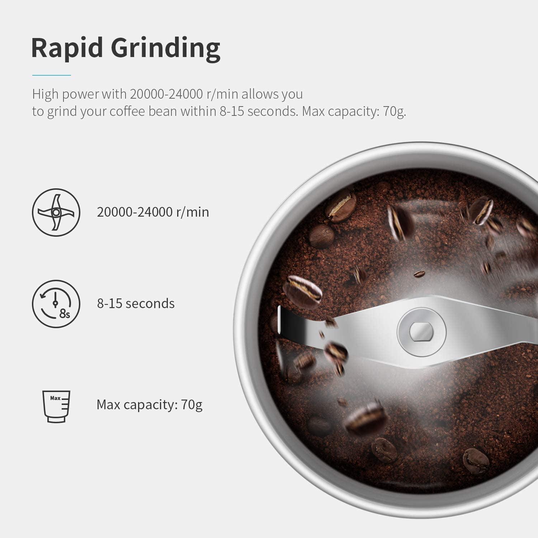 SHARDOR Elektrische Kaffeem/ühle Gew/ürzm/ühle mit 2 Abnehmbare 70g Edelstahlbeh/älter f/ür Kaffeebohnen N/üsse Gew/ürze Getreide M/ühle Schwarz