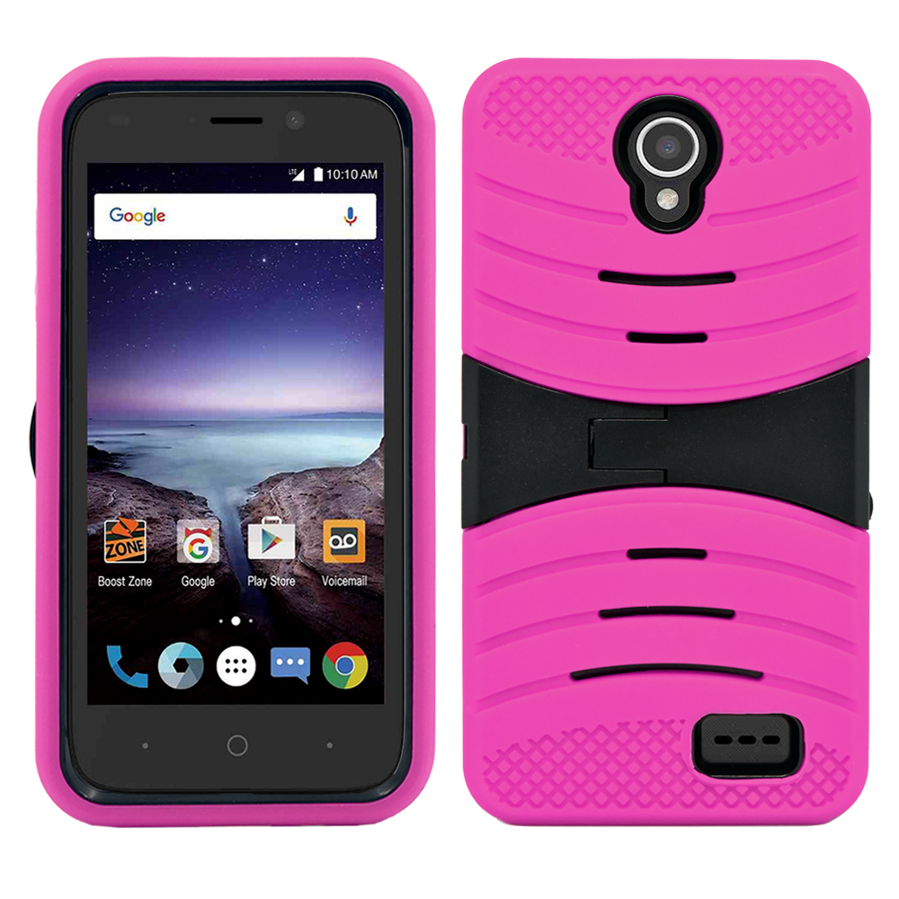 ZTE Prestige 2 / N9136 Heavy Duty Defender Rugged Hybrid Armor Case Cover with Kick Stand