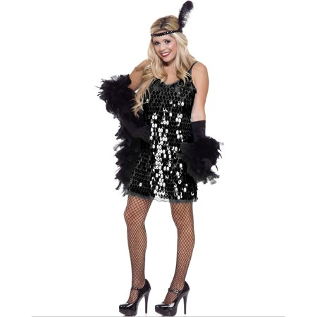 Womens  Black Sequin Roaring 20's Flapper Dress (Roaring 20's Flapper Dress Costume)