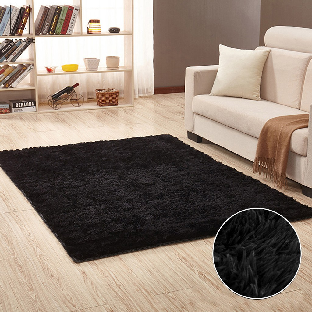 Gustavedesign Fluffy Rugs Fashion Shaggy Area Rug Living Room Carpet Comfy Bedroom Home Decorate 15 75inch 15 75inch Black Walmart Com Walmart Com