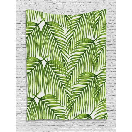 Plant Tapestry, Fascinating Leaves on Branches Exotic Setting Floral Arrangement Jungle Themed Greens, Wall Hanging for Bedroom Living Room Dorm Decor, Fern Green, by Ambesonne - Theme Jungle