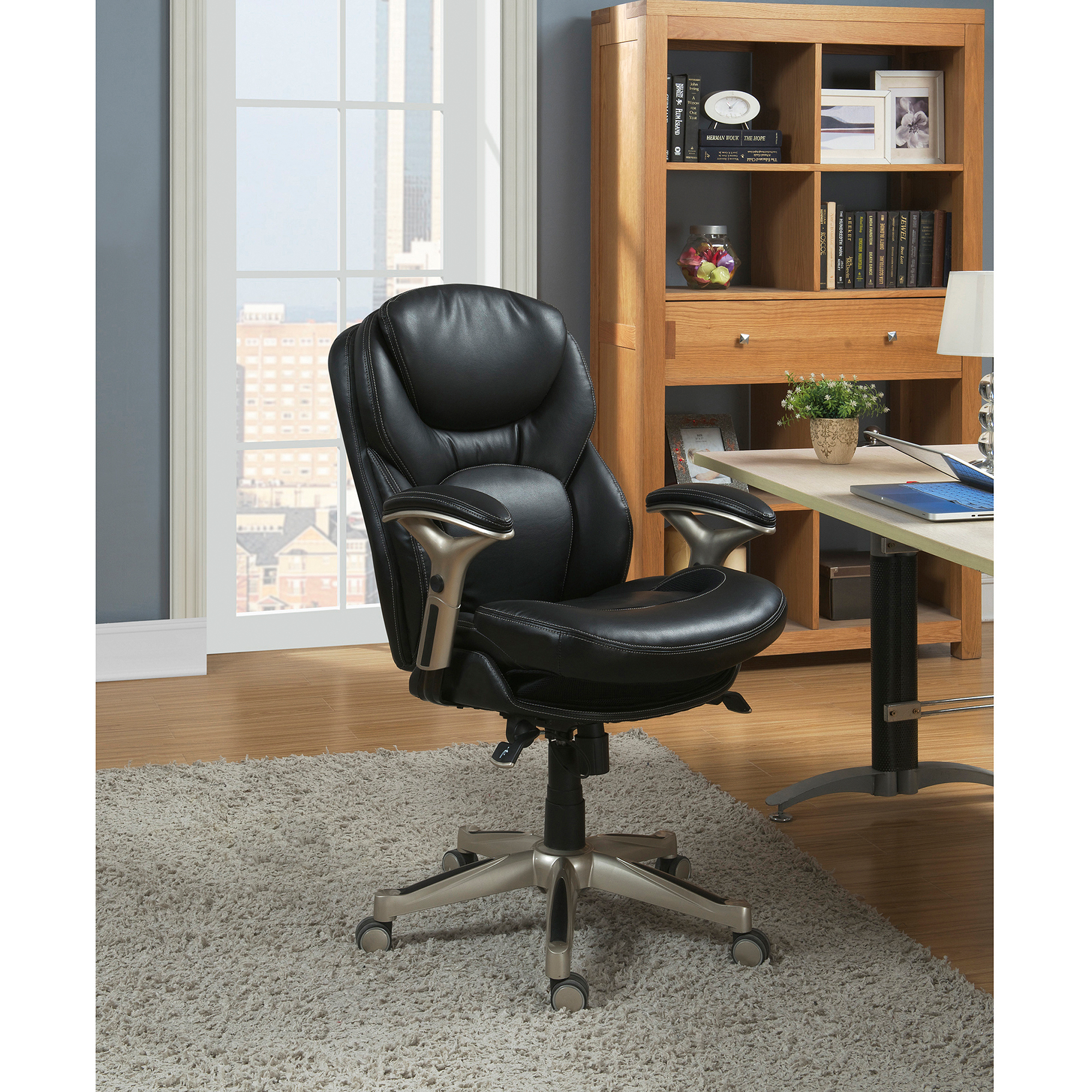 Serta Back In Motion Health And Wellness Mid Back Bonded Leather Office  Chair, Smooth Black   Walmart.com