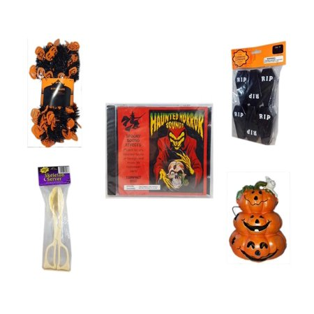 Halloween Fun Gift Bundle [5 Piece] -  Black & Orange Pumpkin Garland 10 ft. - Tombstone Containers Party Favors 6 Count - Haunted Horror Sounds CD - Skeleton Server  - Motion-activated Spooky Sound for $<!---->