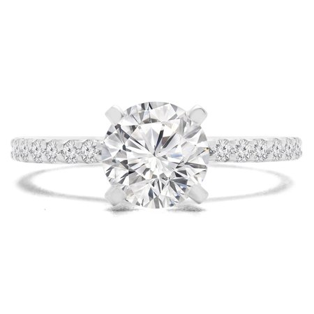 9/10 CTW Round Diamond Solitaire with Accents Engagement Ring in 14K White Gold (MD170246) - image 2 de 2