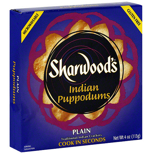 Sharwood Puppodums Plain Traditional Indian Crackers, 4 oz (Pack of 12)