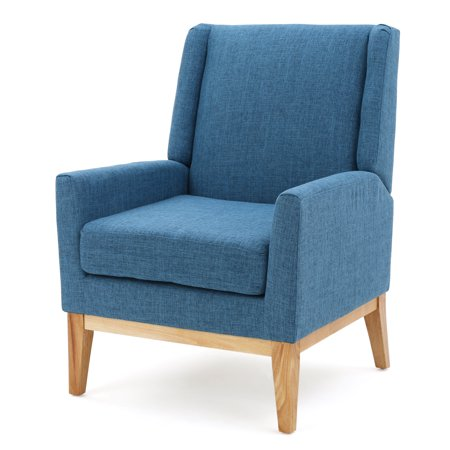 Archibald Mid Century Modern Fabric Accent Chair, Muted Blue ()