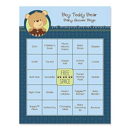 Baby Boy Teddy Bear   Baby Shower Game Bingo Cards   16 Count