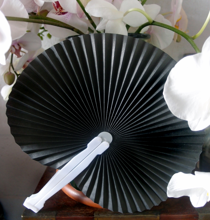 "9"" Black Accordion Paper Hand Fan for Weddings (10 PACK)"