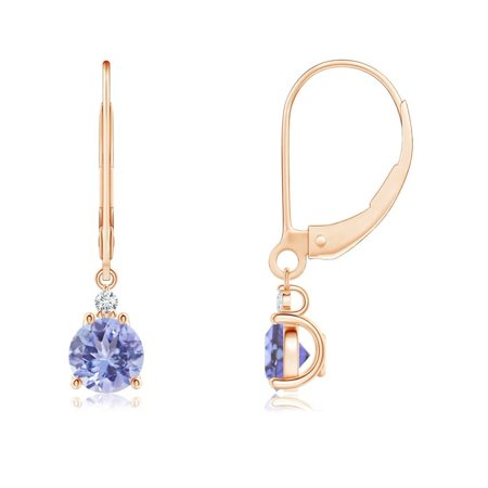 Tanzanite and Diamond Leverback Drop Earrings in 14K Rose Gold (5mm Tanzanite) - SE0998TD-RG-AA-5