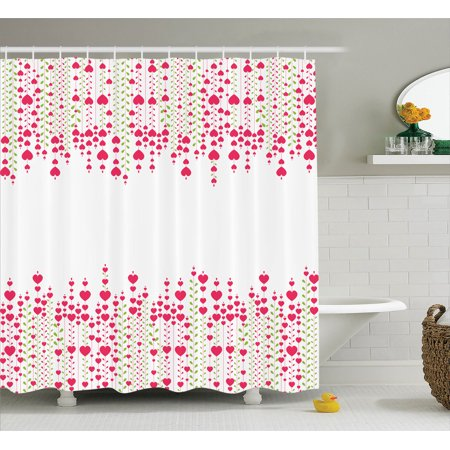 Love Decor Shower Curtain Set, Heart Bouquet Plants Leaves Creativity Valentine'S Flowers Decorating Stylish, Bathroom Accessories, 69W X 70L Inches, By Ambesonne ()