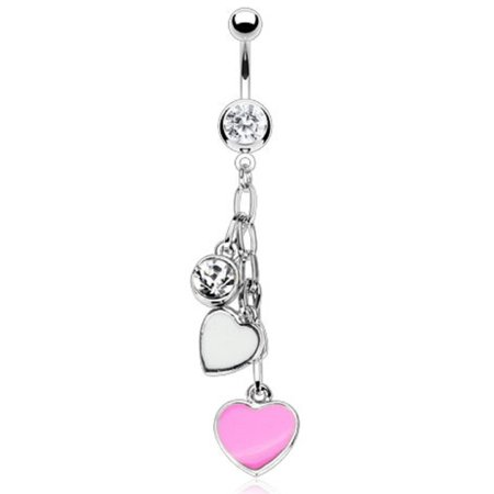Dangling Multi Colored Belly Button Ring - Belly Button Ring Navel Multi Heart Body Jewelry Dangle 14 Gauge Body Accentz...