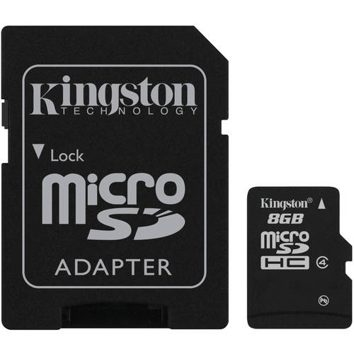 Kingston 8GB microSDHC Memory Card with SD Adapter
