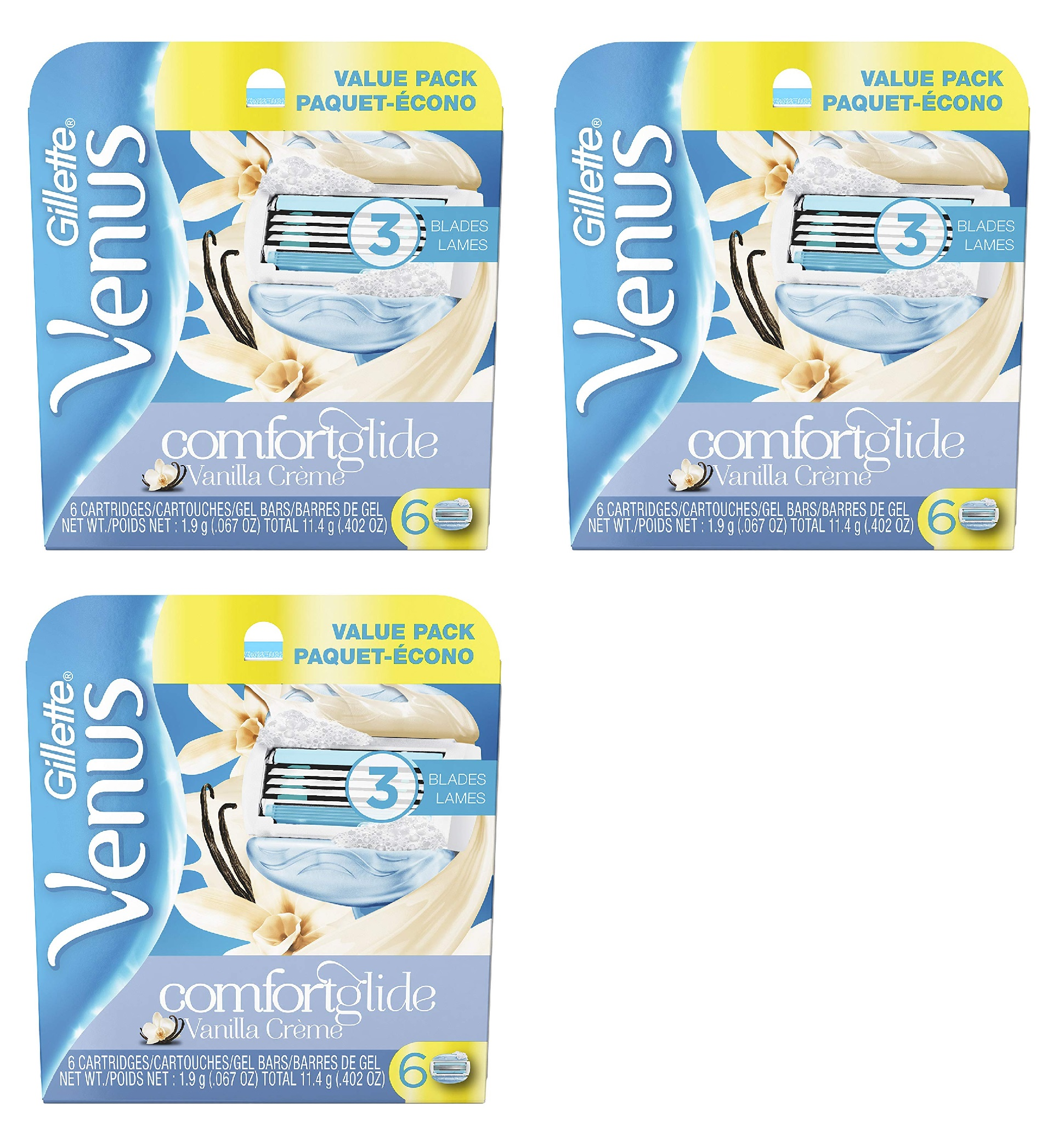 Gillette Venus Comfortglide Vanilla Crème Refill Blade Cartridges, 6 Count (Pack of 3)