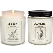 Scented Candle Strongly Fragrance Sage & Lavender Natural Soy Jar Candles Gift for Woman and Embellishment Home