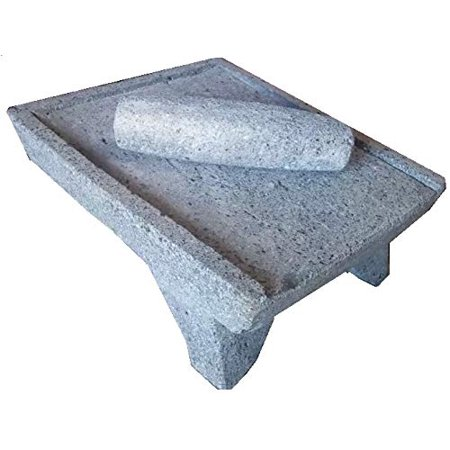 Made in Mexico Genuine Mexican Azteca Manual Volcanic Lava Rock Metate Y Mano Mortar and Ground Stone Grains Seeds Spices Corn Elote Maíz Chocolate #10