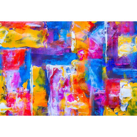 Acrylic Face Mounted Prints Blue Yellow And Red Abstract Painting Print 14 X 11 Worry Free Wall Installation Shadow Mount Is Included