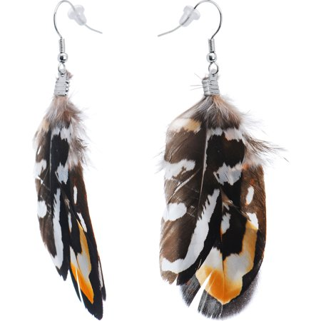 Brown White Essence Feather Earrings